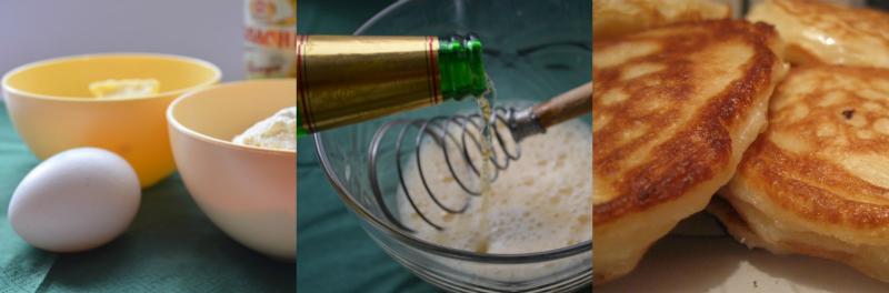 Цибулю очистіть і наріжте якомога дрібніше. Додайте до цибулі яйце і пиво, перемішайте