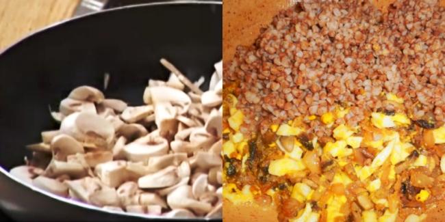 Гриби наріжте тонкими пластинками і поставте на розігріту сковороду без масла.