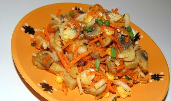 Морквяний салат з гливами - рецепт приготування